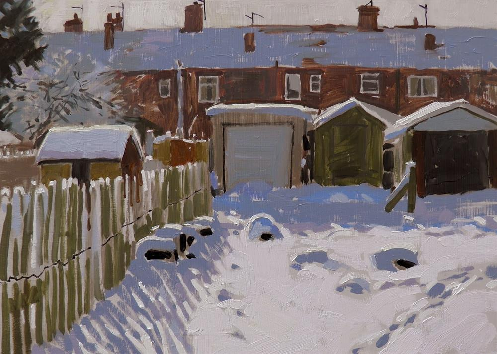 """Allotments in the snow"" original fine art by Haidee-Jo Summers ROI"