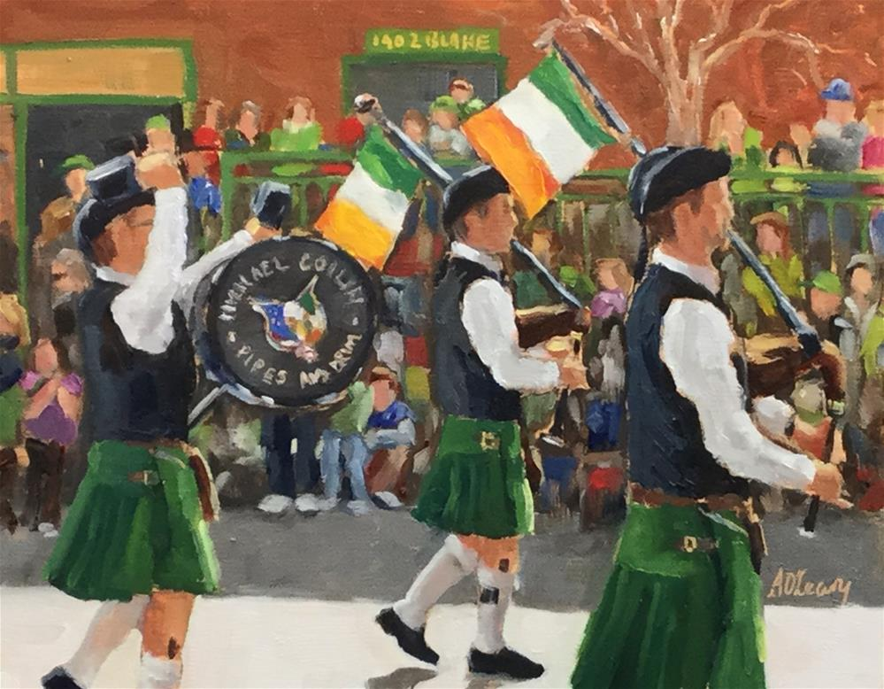 """""""Irish Pipes and Drums"""" original fine art by Alice O'Leary"""
