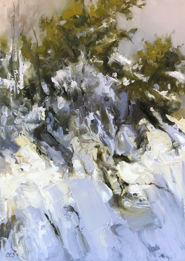 """Juniper Under Snow"" original fine art by Christine E. S. Code"