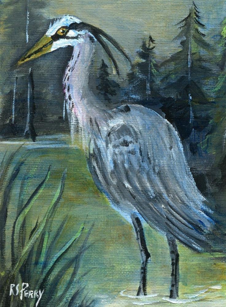 """Blue Heron water bird"" original fine art by R. S. Perry"