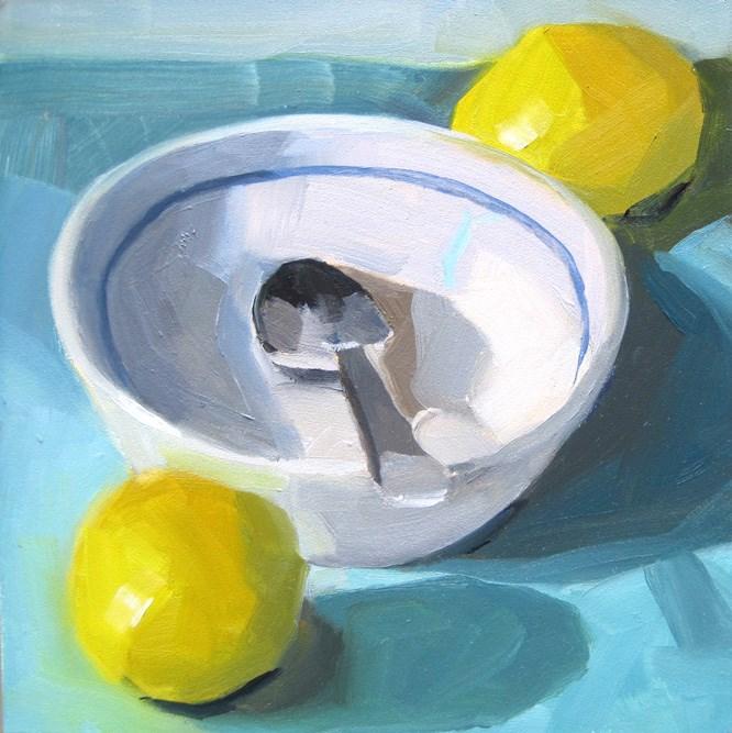 """""""White Bowl and Lemons"""" original fine art by Robin Rosenthal"""