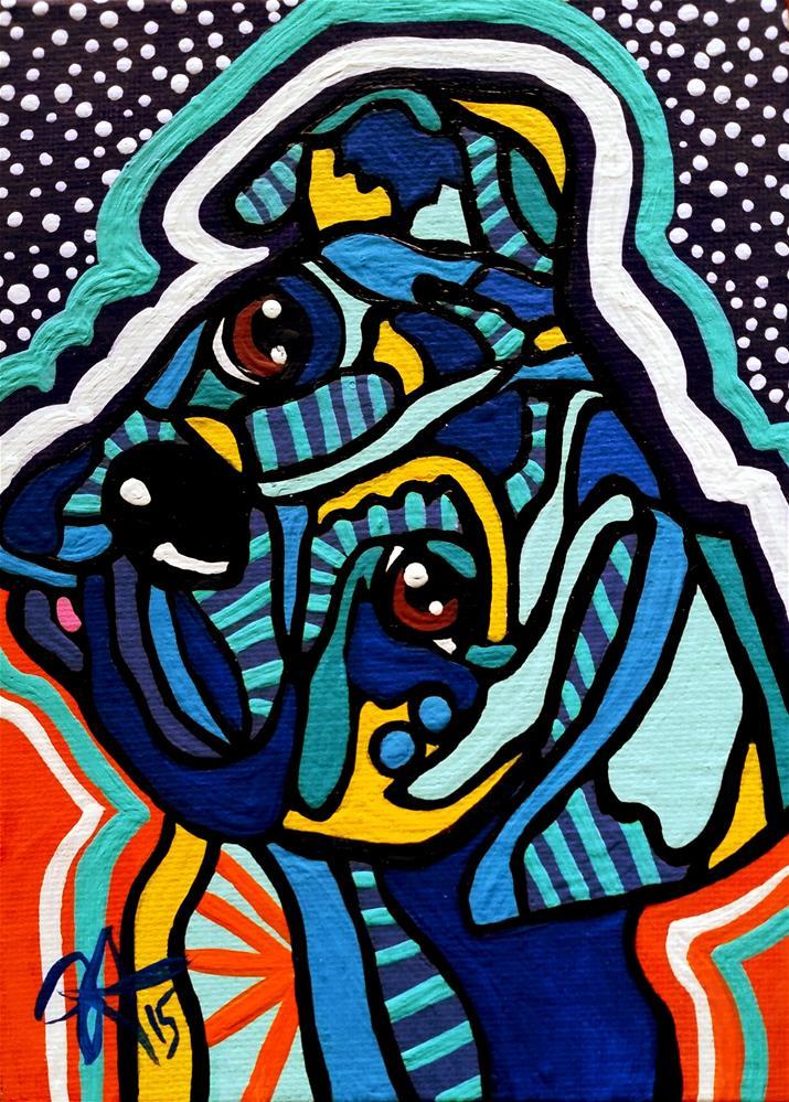 """""""Rex Hound Dog Retriever Puppy Pointer Fun Design Boxer Great Dane Setter Foxhound  Mastiff"""" original fine art by Jackie Carpenter"""