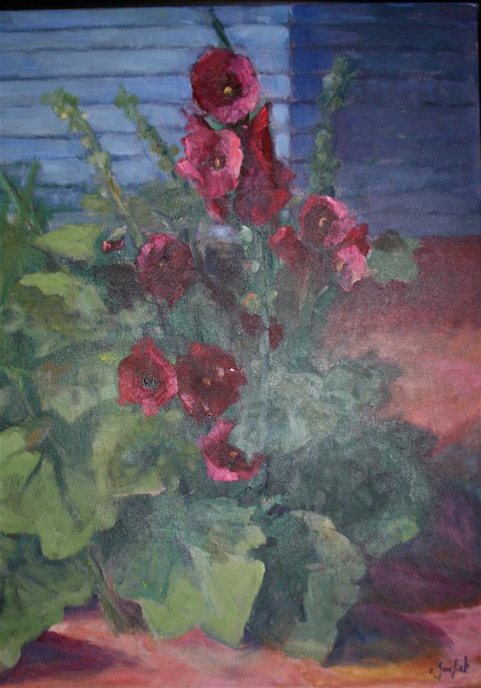 """""""Hollyhocks from my yard"""" original fine art by Carol Josefiak"""