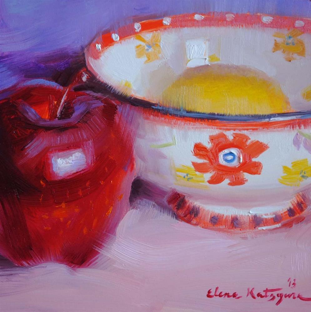 """Red Flower"" original fine art by Elena Katsyura"