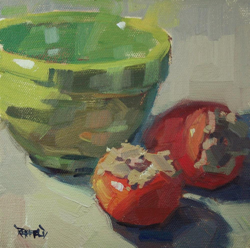 """""""Persimmons and Green Bowl"""" original fine art by Cathleen Rehfeld"""