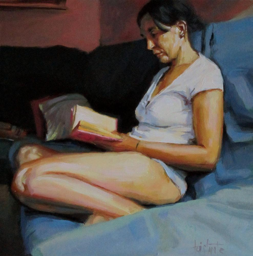 """Reading at night"" original fine art by Víctor Tristante"