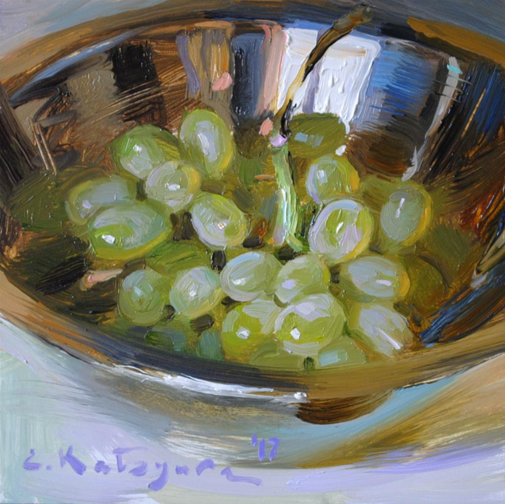 """Grapes in Silver Bowl"" original fine art by Elena Katsyura"