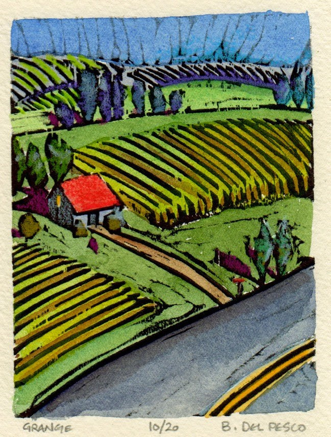 """Mini Woodcut: Grange"" original fine art by Belinda Del Pesco"