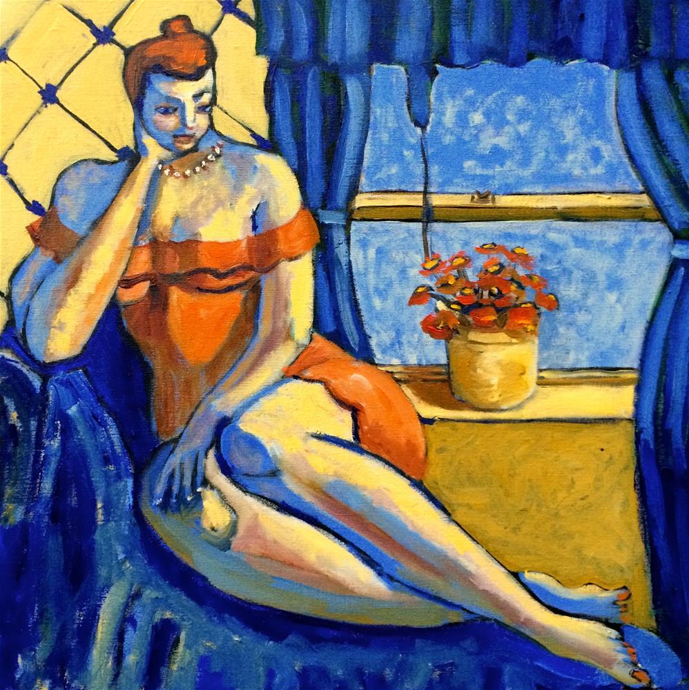 """""""Woman in an Orange Dress"""" original fine art by Darryl Freeman"""
