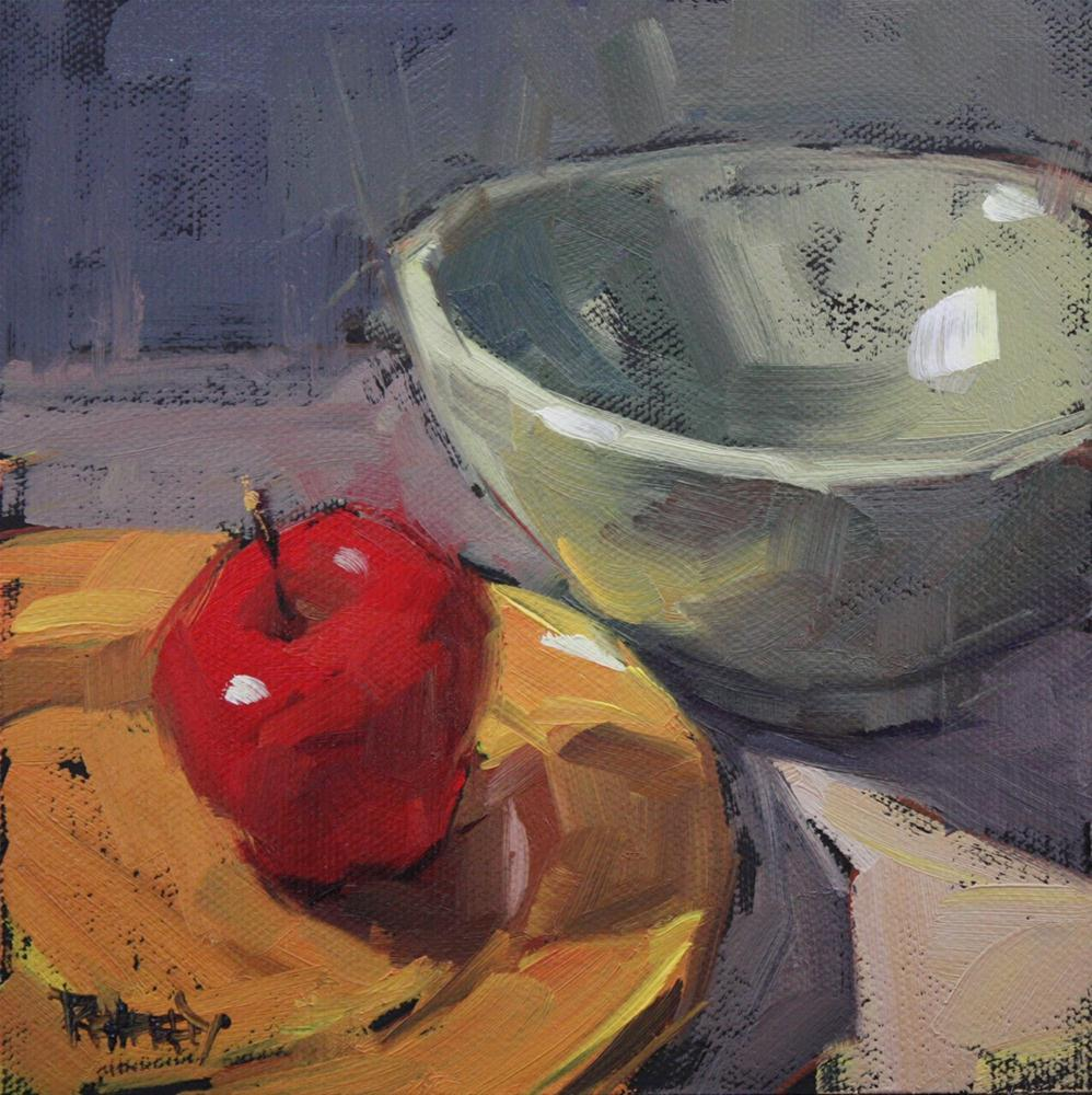 """Apple and Asian Bowl"" original fine art by Cathleen Rehfeld"