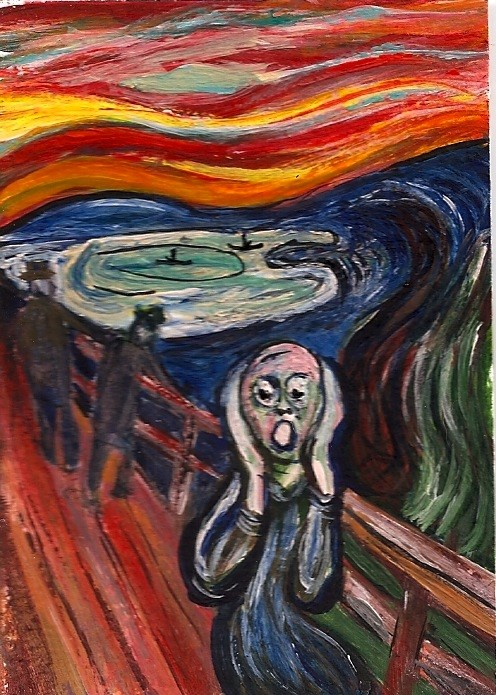 """""""ACEO The Scream in the style of Edvard Munch Miniature Original Penny StewArt"""" original fine art by Penny Lee StewArt"""