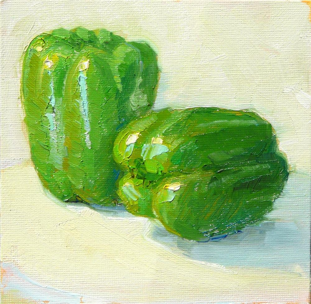 """April Peppers,still life,oil on canvas,6x6,price$100"" original fine art by Joy Olney"