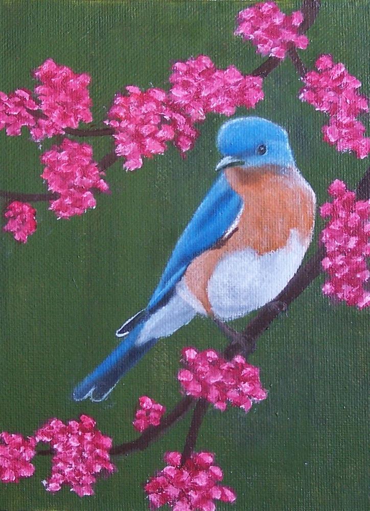 """""""Bluebird and Redbuds"""" original fine art by John Marcum"""