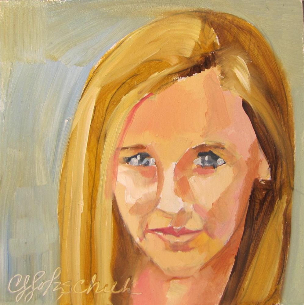 """AG  4x4 oil portrait sold"" original fine art by Christine Holzschuh"