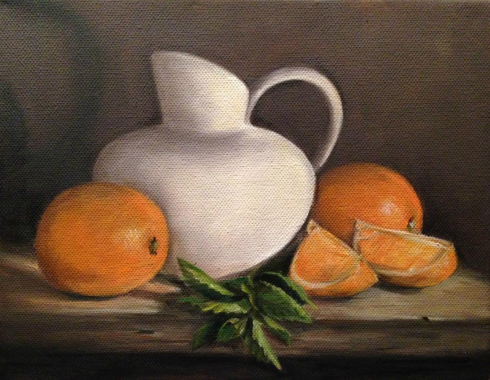 """Bisque With Oranges & Mint"" original fine art by Beth Moreau"