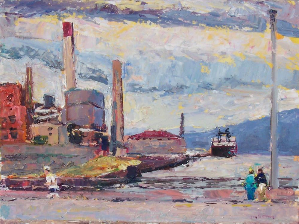 """Waterfront,seascape,oil on canvas,9x12,price$400"" original fine art by Joy Olney"