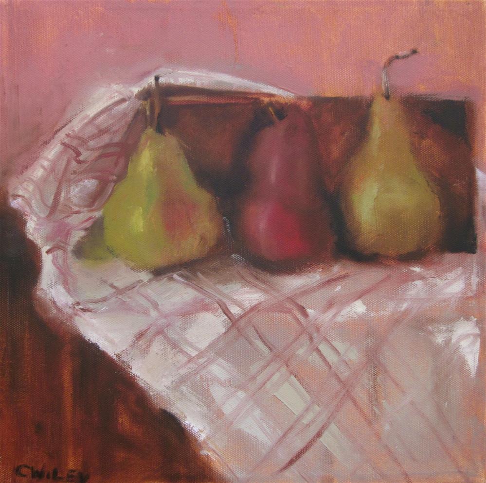 """""""Three Pears"""" original fine art by Carol Wiley"""