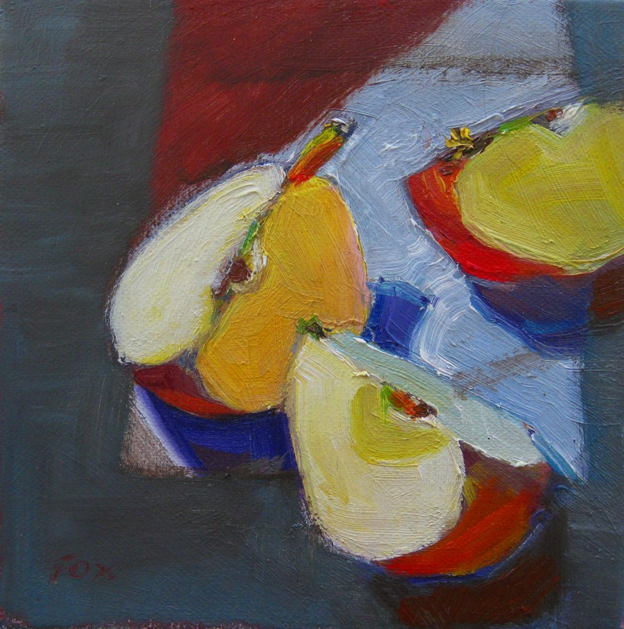 """Three Apples Wedges, oil on canvas, 6 x 6, still life,"" original fine art by Marie Fox"