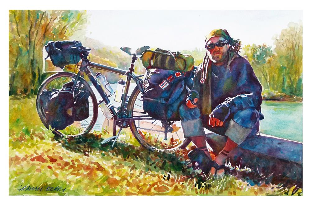 """Kayden and bike"" original fine art by Graham Berry"