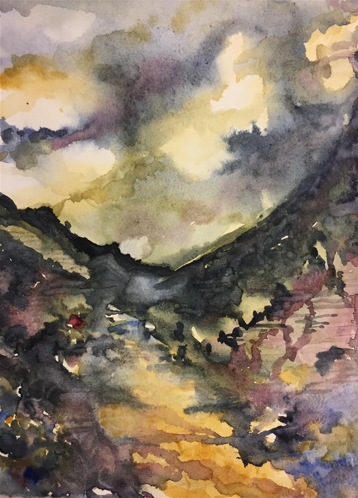 """Himalayan Terraces"" original fine art by Jean Krueger"