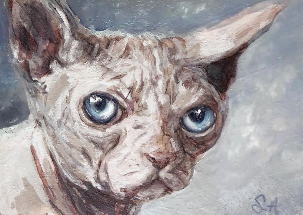 """Hairless Cat (ACEO)"" original fine art by Sunny Avocado"