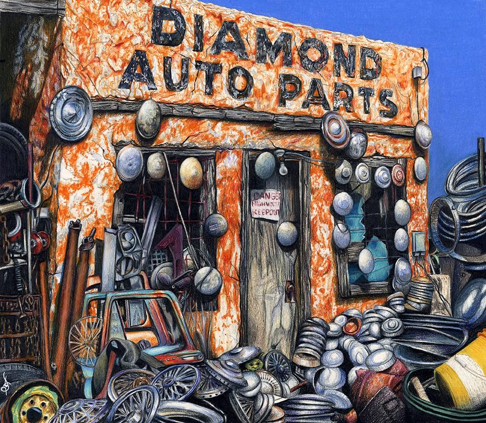 """Diamond Auto Parts"" original fine art by Valorie Sams"