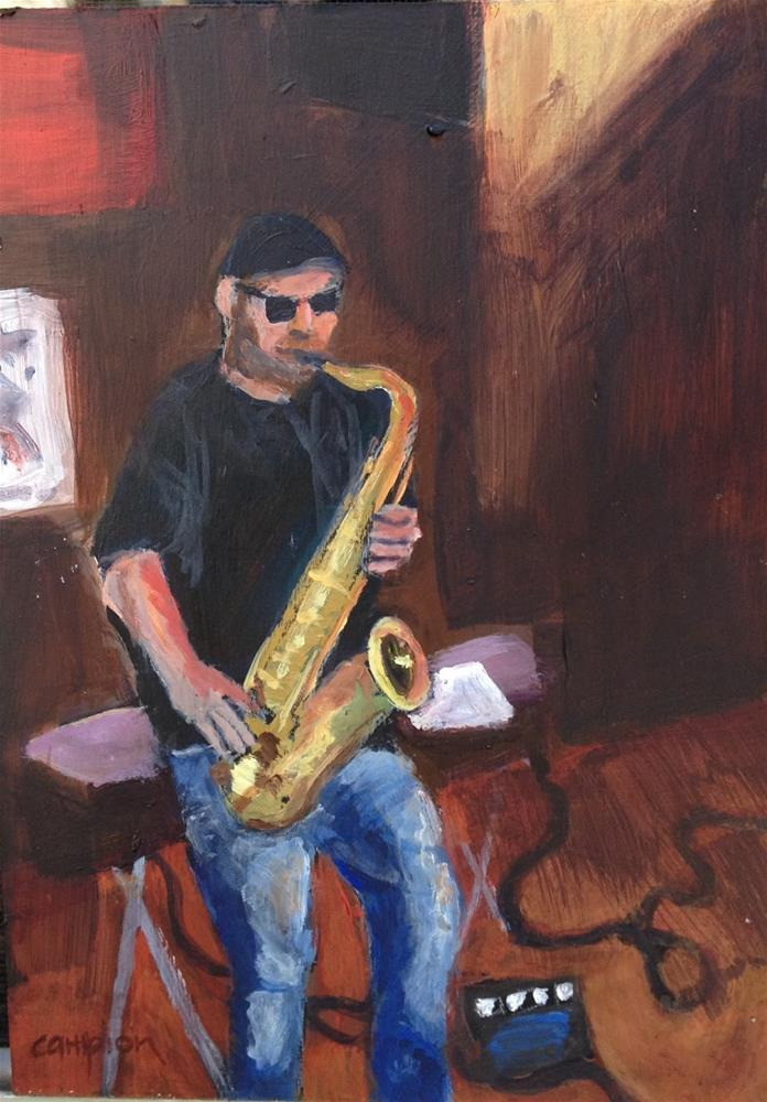 """103. Bar Musician With Saxophone"" original fine art by Diane Campion"