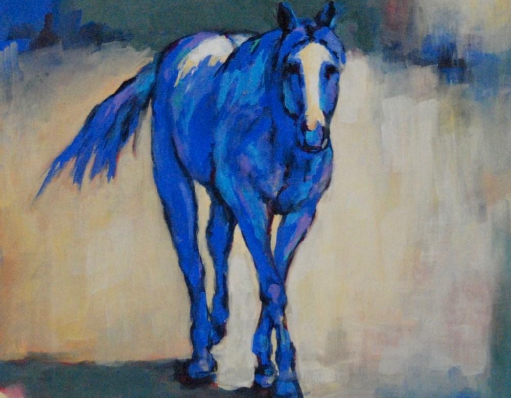 """""""lilah blue - Framed"""" original fine art by Vicki Wood"""