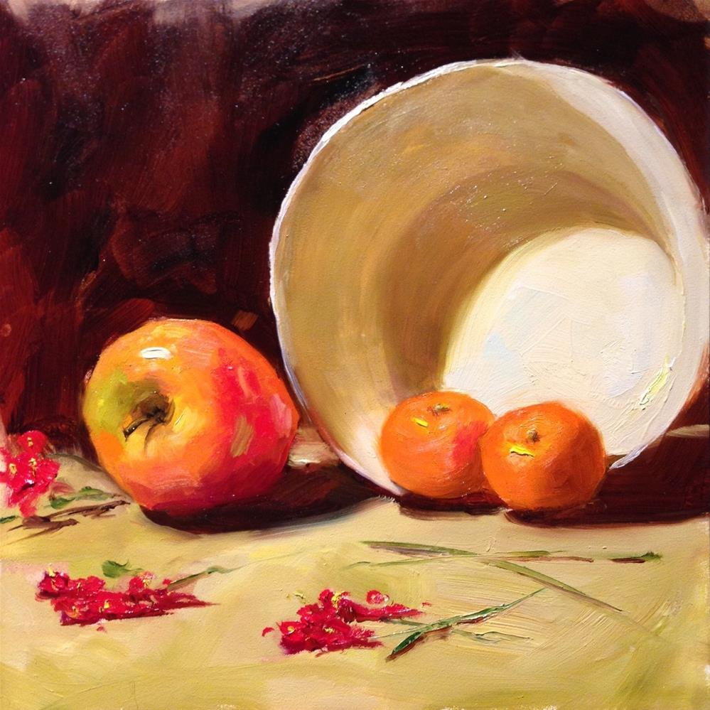 """""""Clementines in a White Bowl"""" original fine art by Dorothy Woolbright"""