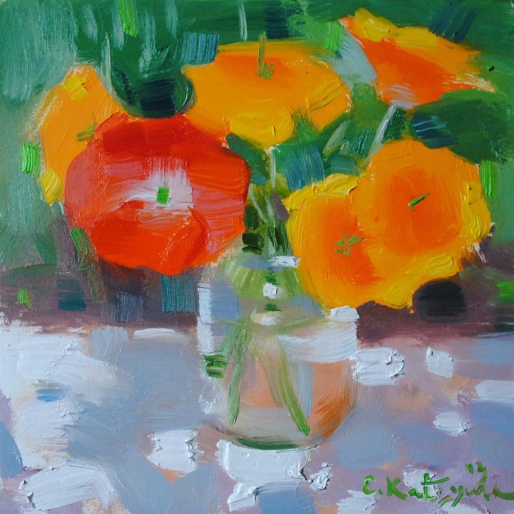 """California Poppies"" original fine art by Elena Katsyura"