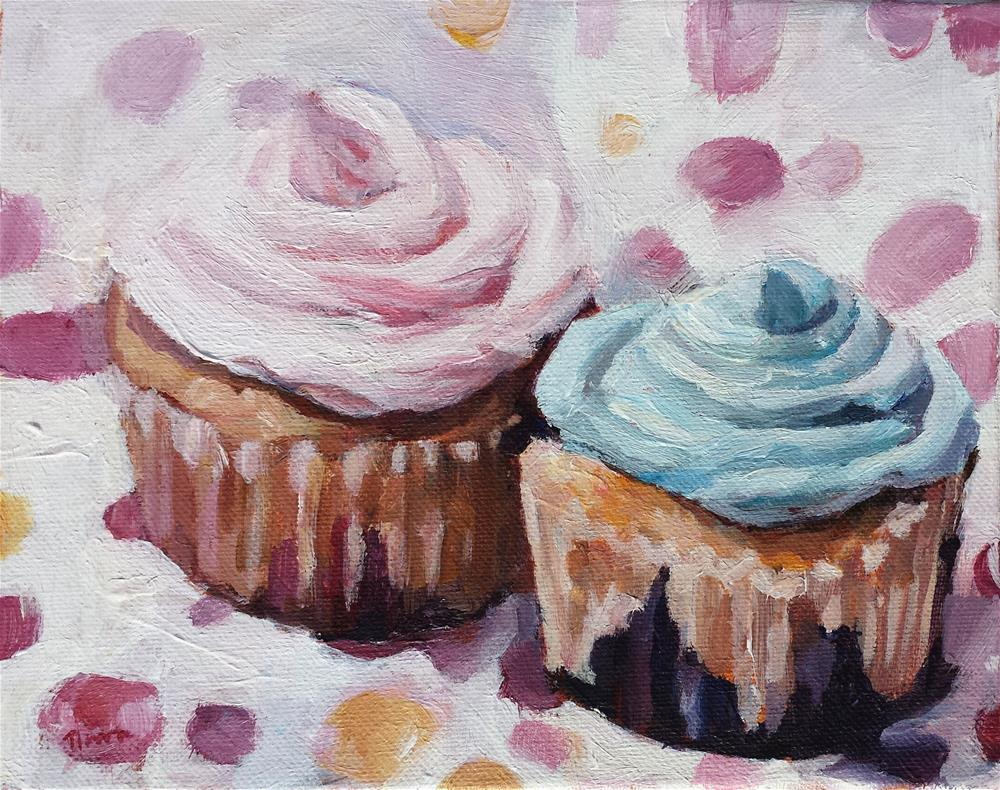 """""""Pink and Blue Cupcakes"""" original fine art by Nava Judith"""