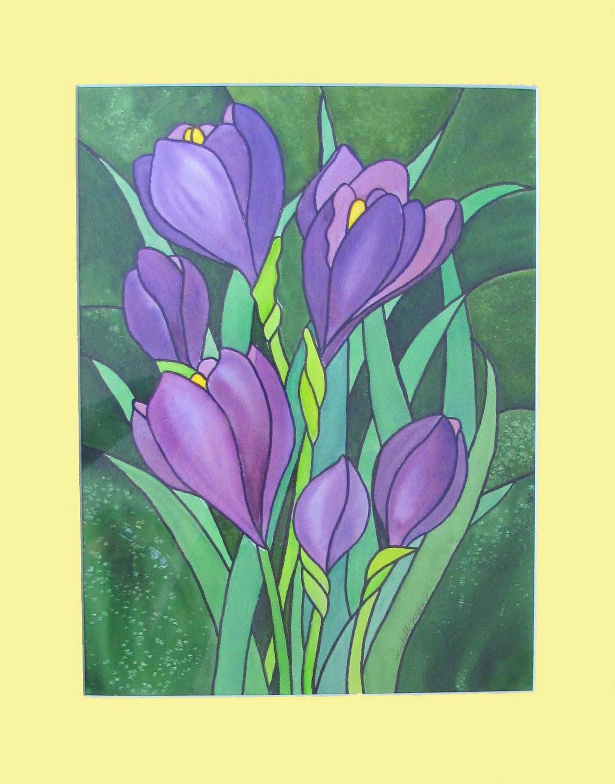 """""""Purple Flowers"""" original fine art by Michelle Wolfe"""