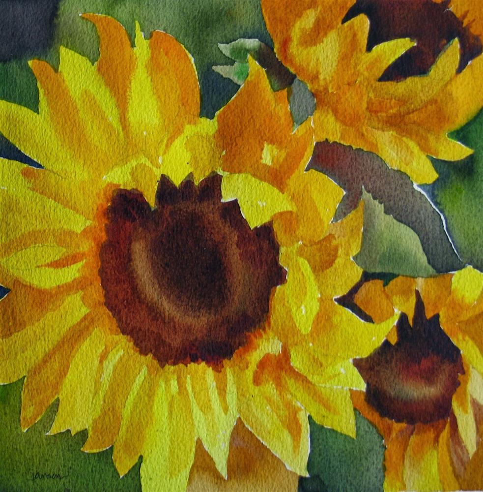 """Sunflowers Squared"" original fine art by Nel Jansen"
