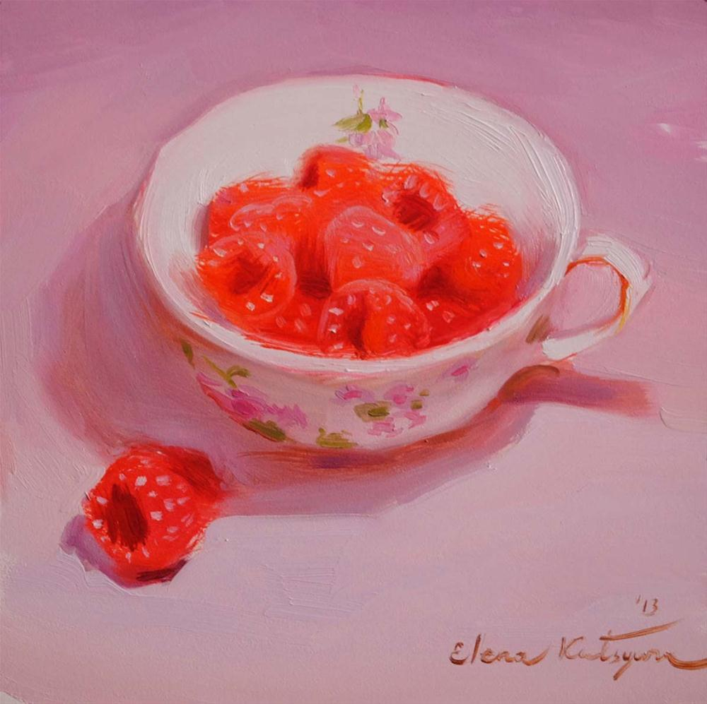 """Cup of Raspberries"" original fine art by Elena Katsyura"