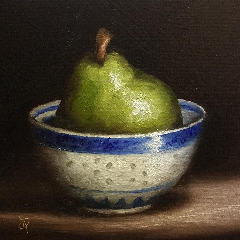 """Pear in a bowl"" original fine art by Jane Palmer"