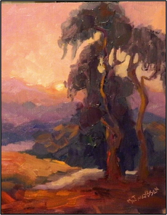 """Valley Sunset, 8x10, oil on panel, eucalyptus tree, California art, sunsets, mountains, Impression"" original fine art by Maryanne Jacobsen"