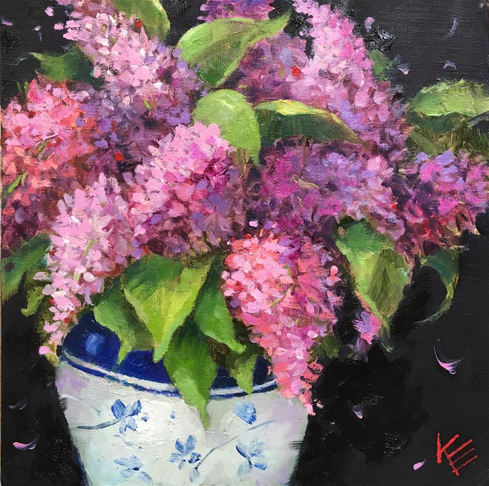 """Lilacs in Blue & White vase"" original fine art by Krista Eaton"