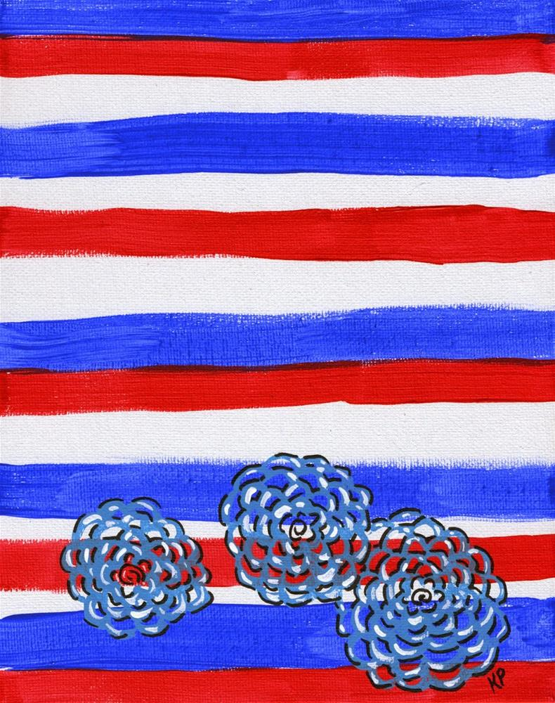 """Flowers and Stripes"" original fine art by Kali Parsons"