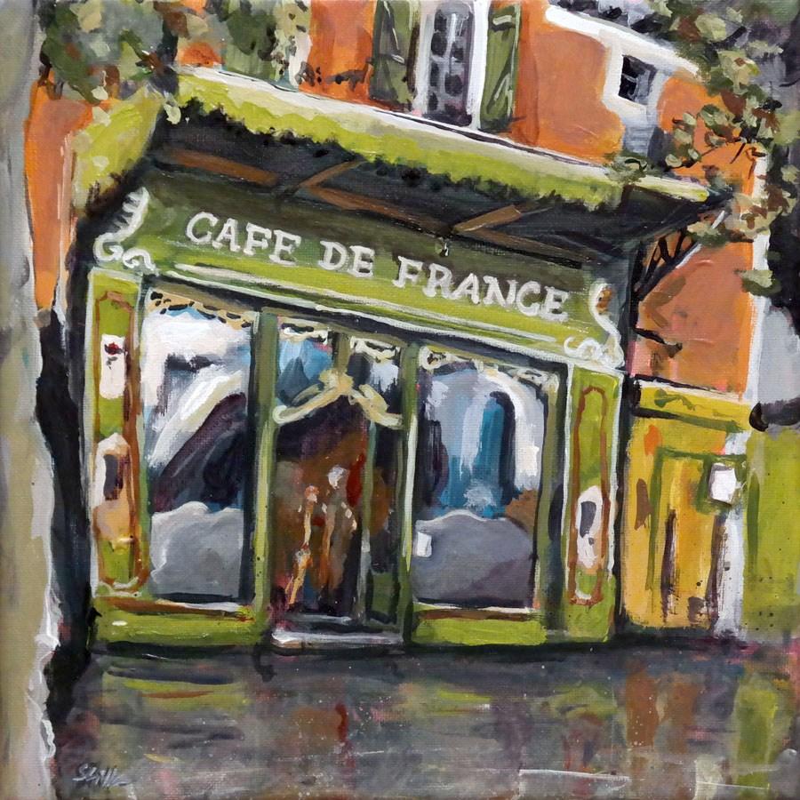 """""""1195 Café after the rain"""" original fine art by Dietmar Stiller"""