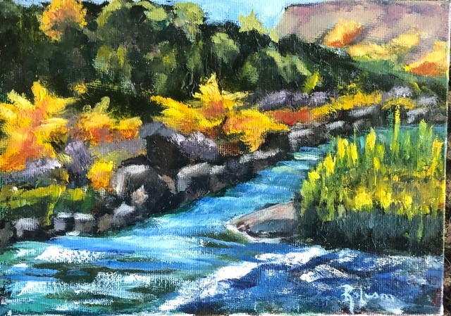 """Rio Grande Gorge in Fall"" original fine art by Renee Robison"