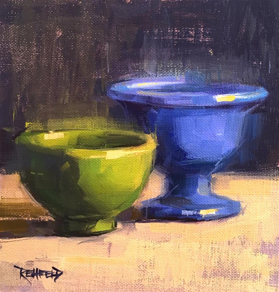 """Green and Blue"" original fine art by Cathleen Rehfeld"