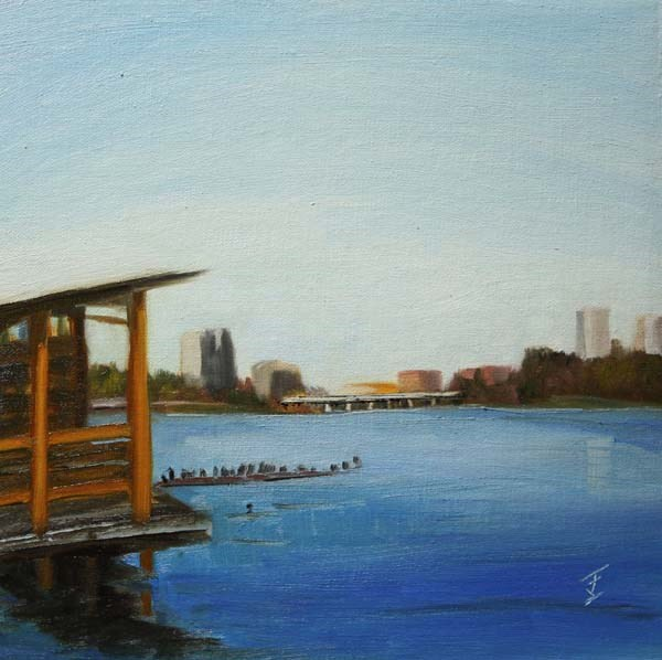 """""""View From The Boathouse"""" original fine art by Jane Frederick"""