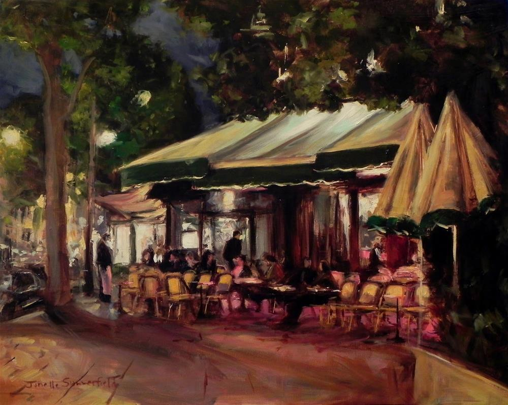 """Les Deux Magots at Night"" original fine art by Jonelle Summerfield"