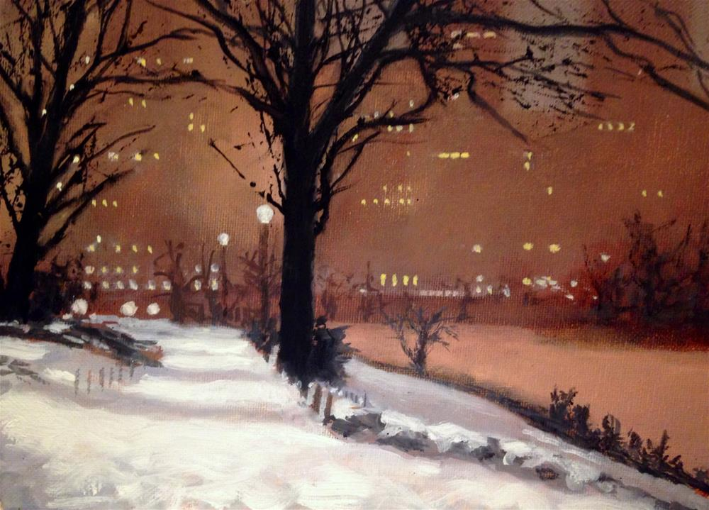 """Central Park Winter 9x12 framed"" original fine art by David Larson Evans"