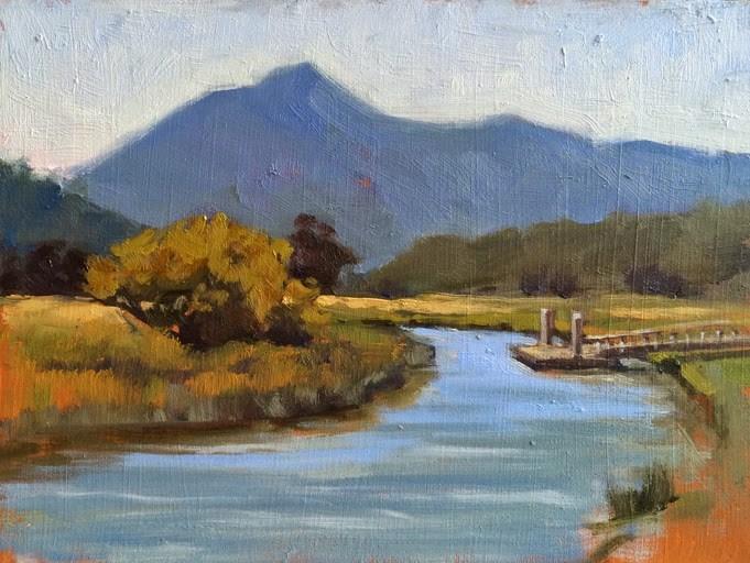 """Mt. Tam from Gallinas Creek"" original fine art by Deborah Newman"