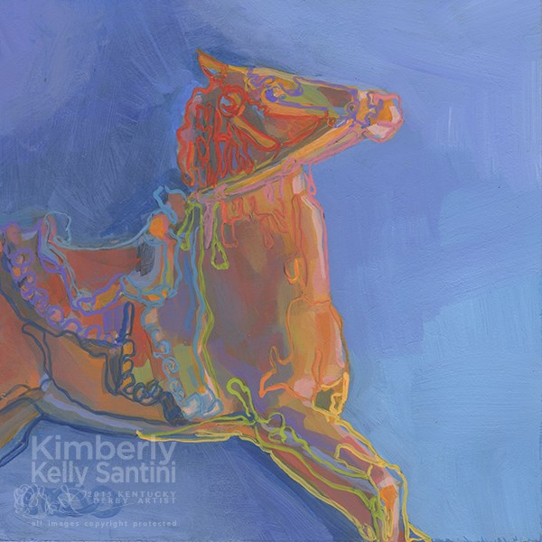 """Cowboy's Ride, Toy #19 of 100 Toys"" original fine art by Kimberly Santini"