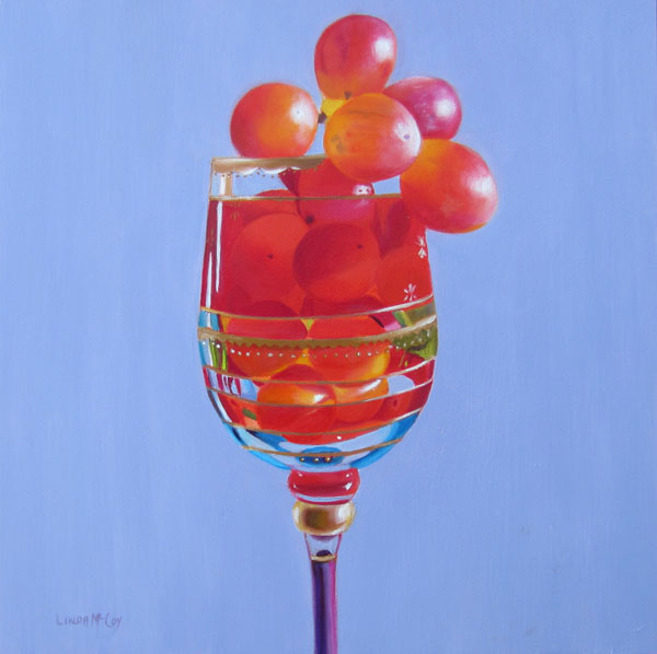 """The Grape Escape, Oil painting by Linda McCoy"" original fine art by Linda McCoy"