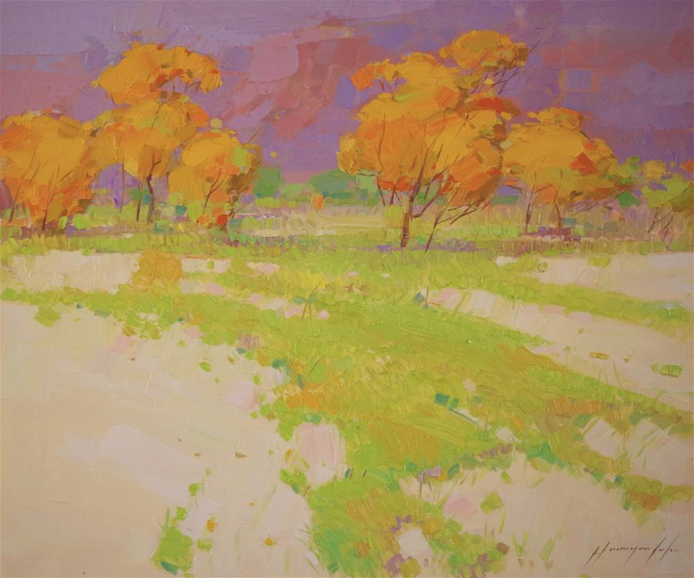 """""""Meadow Original oil painting Signed with Certificate of Authorization"""" original fine art by V Y"""
