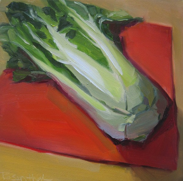 """Bok Choy on Red Napkin"" original fine art by Robin Rosenthal"