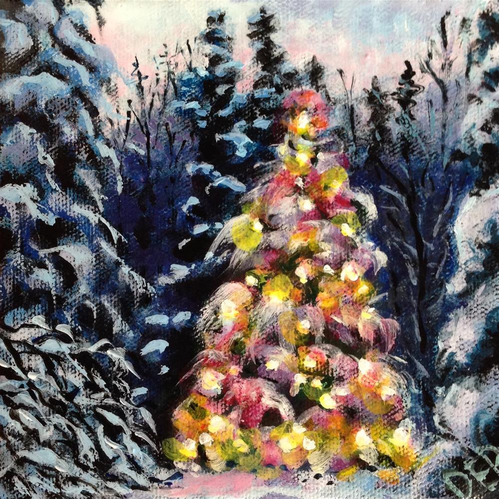 """Snowy Christmas Tree"" original fine art by Debbie Yacenda"